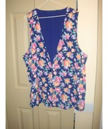 Susan Graver Reversible Indigo Or Floral Print Vest, Size L - $12.59