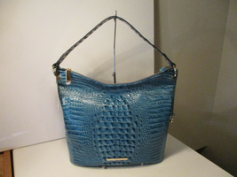 Authentic Brahmin Sevi Lagoon Blue  Melbourne Shoulder Bag Embossed Leat... - $247.49