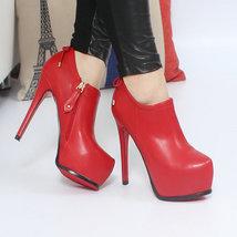 83B021 elegant Martin Booties w zipper side Size 3-9.5, red - $58.80