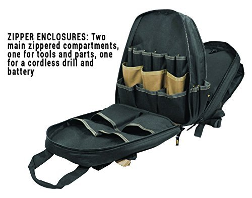 Primary image for CLC Custom Leathertcraft 1134 Carpenter's Tool Backpack, 44 Pockets, Padded Back