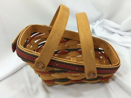 LONGABERGER Mini Vegetable Basket w/ Handles 1996 Vintage 26373 All Amer... - $47.51