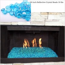 Fire Glass Beads Drops for Gas Fire Pit Aqua Outdoor Patio Fireplaces Fi... - $29.65
