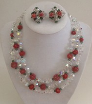 Vintage Vendome Cut Crystal and Microbead Necklace with Clip Earrings - $116.88
