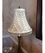 Ivory Fur Textured Pearl & Silver Beaded Lampshade - $15.00