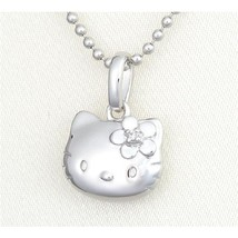 "Hello Kitty Silver925 Diamond Pendant Necklace ""Face"" from Japan NEW - $208.00"