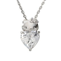 Hello Kitty Heart Pendant Necklace silver 925 - Swarovski Elements from ... - $219.00