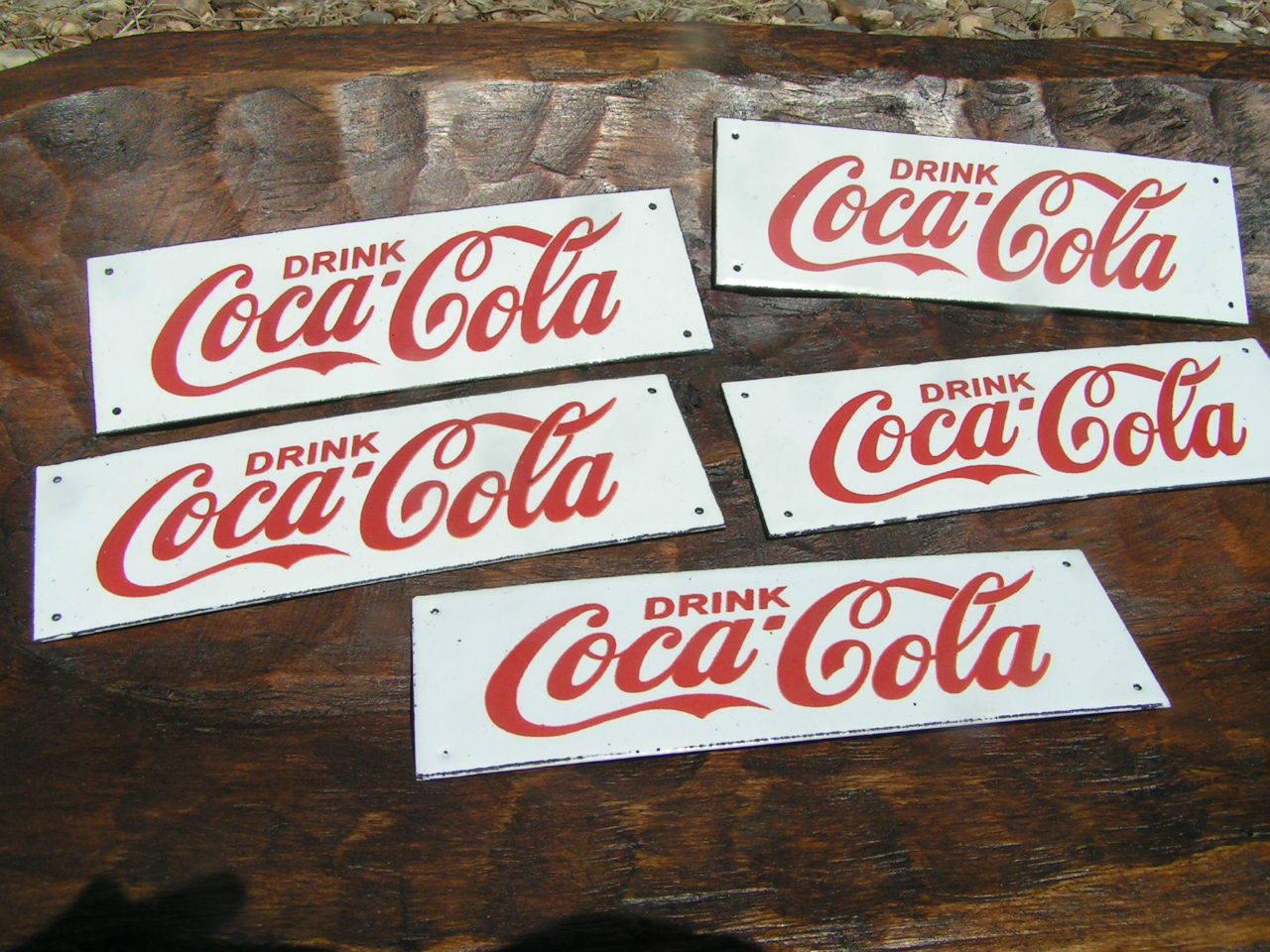 five drink coca cola porcelain small coke plaque s bz reproduction antiques. Black Bedroom Furniture Sets. Home Design Ideas