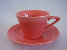 Vintage Homer Laughlin Harlequin Coral Teacup Saucer - $25.99