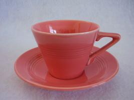 Vintage Homer Laughlin Harlequin Coral Teacup S... - $25.99