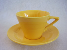 Vintage Homer Laughlin Harlequin Yellow Teacup Saucer - $25.99