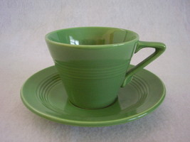 Vintage Homer Laughlin Harlequin Medium Green Teacup Saucer  - $25.99
