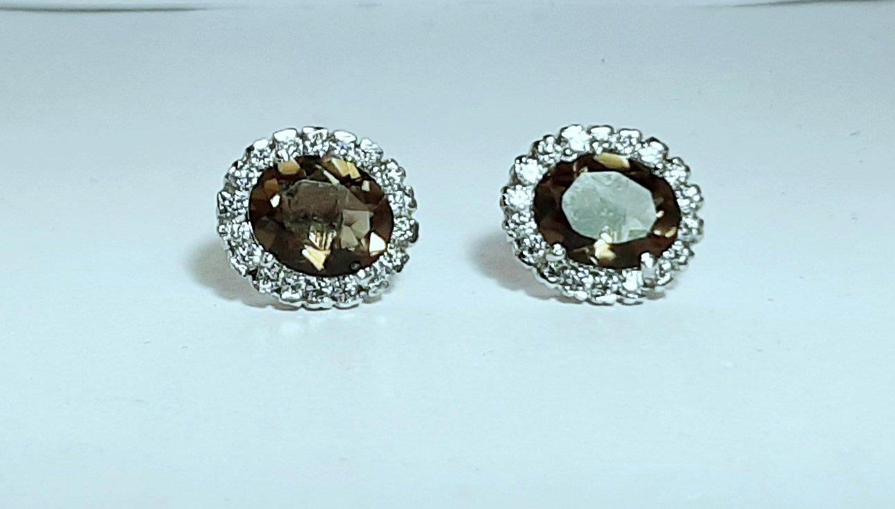 925 Sterling Silver Natural Smoky Quartz Gemstone Handcrafted Design Women's Stu
