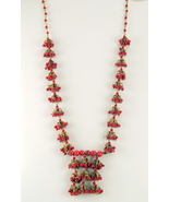 Vintage red plastic bead cluster dangle necklace - $20.00