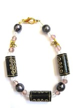 Gold Dragonflies and Black, Gold, Pink, and Gray Bead Bracelet - $14.00