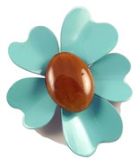 Vintage flower power enameled metal brooch turq... - $18.00