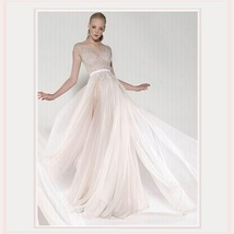 Flowing Sheer Backless Leg Slits & Beaded Chiffon Designer Style Wedding Dress image 2