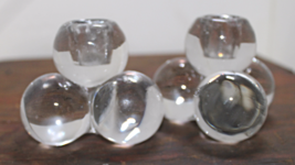 Vintage Mid-Century SOLID GLASS Ball-Cluster Shaped Candle Holders 1950-1960s - $15.00