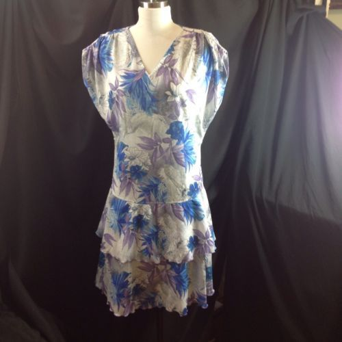 Vtg 80s Drop Waist Blue Purple Tropical Dress Tiered Ruffle Skirt US Size 12 UK