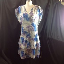 Vtg 80s Drop Waist Blue Purple Tropical Dress Tiered Ruffle Skirt US Siz... - $29.21