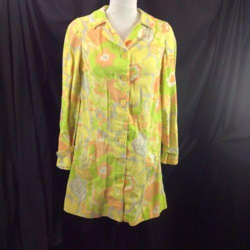 Handmade Flower Power Shirt Trench Dress Jacket Sunshine Yellow Buttons S