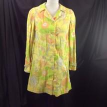 Handmade Flower Power Shirt Trench Dress Jacket Sunshine Yellow Buttons S - $34.16
