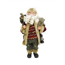 "18"" Woodland-Inspired Standing Santa Claus Christmas Figure with Teddy B... - $27.22"