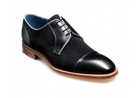 Mens derby calf and suede leather shoes, men black formal derby toe cap shoes  - $189.99
