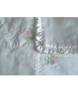 Carter's White Cotton Squares Sweet Daisy w/Flowers Satin Baby Girl Blanket - $22.49