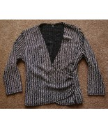 Blu Sage 3/4 Sleeve  Black Silver Sparkle  Knit Top sz M  NWOT - $9.99