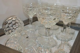 Fostoria AMERICAN - CLEAR Set of 8 Champagne/Tall Sherbet Stemware Hexagon Base - $37.36
