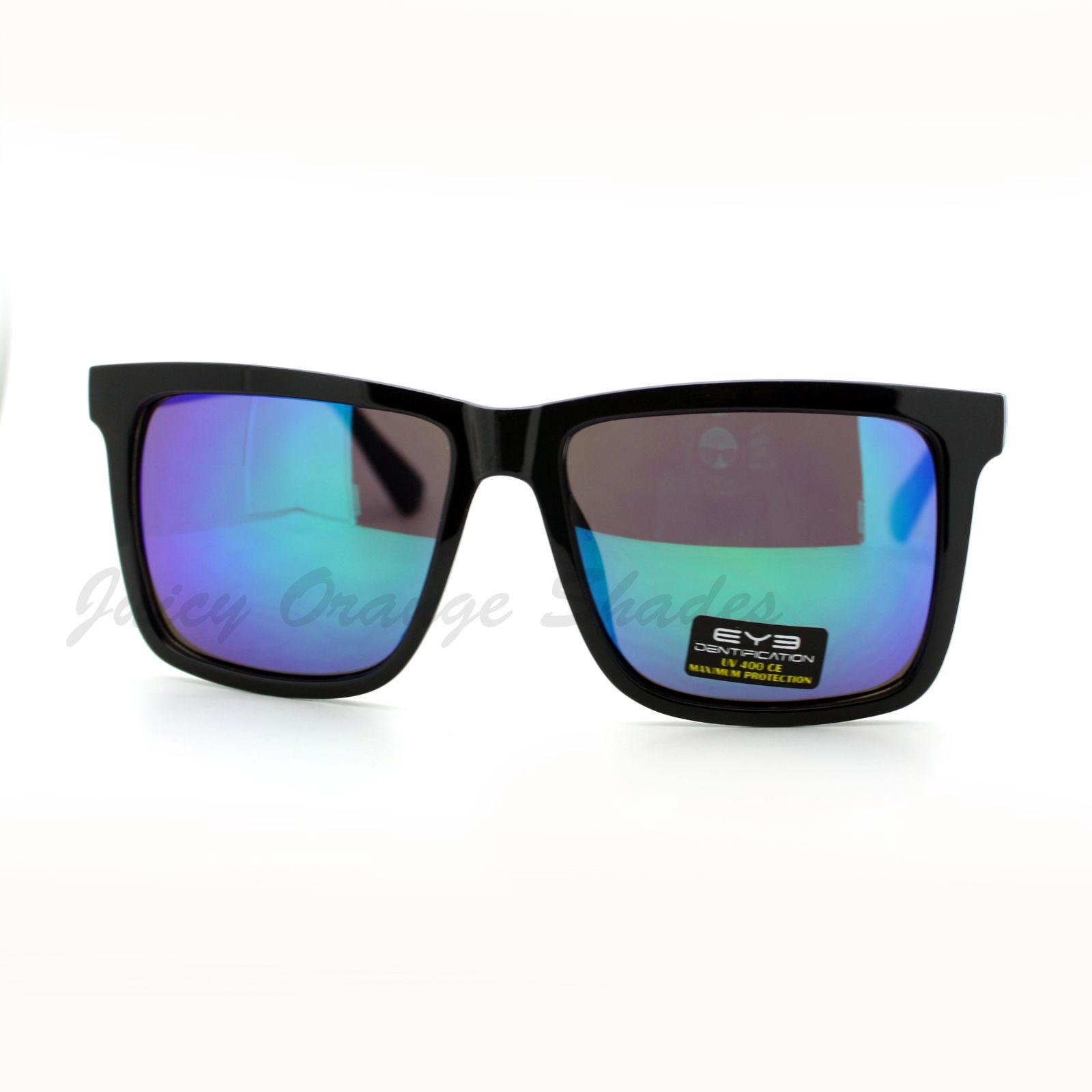 Black Square Frame Sunglasses Multicolor Mirror Lens Unisex UV400