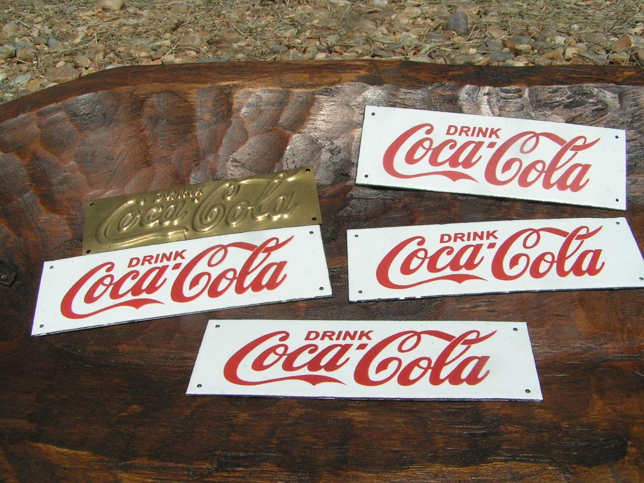 six drink coca cola soda coke sign plaque s 4 porcelain 2 brass bz signs. Black Bedroom Furniture Sets. Home Design Ideas
