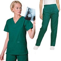 Landau Scrub Set Hunter Green V Neck Top Drawstring Pants 2XL Unisex Med... - $35.25