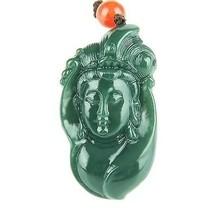 Hand carved natural green jadeite jade guanyin buddha zen buddha charm pendant - $19.79