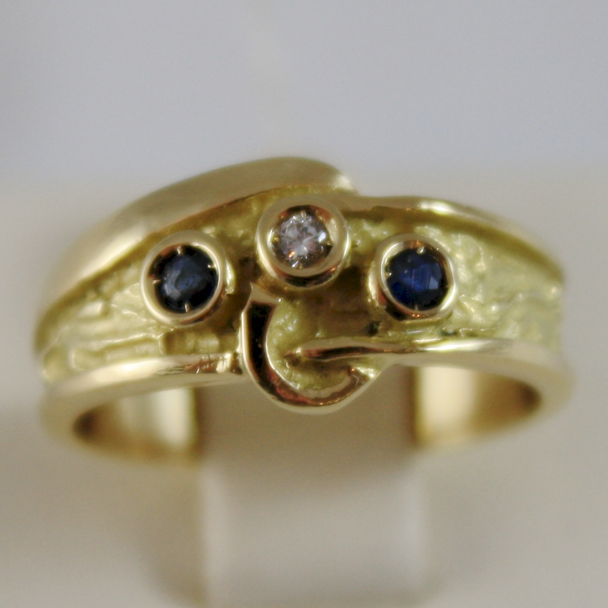 SOLID 18K YELLOW GOLD LITTLE FINGER RING DIAMOND AND BLUE SAPPHIRE MADE IN ITALY