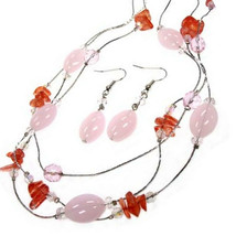 Rose Coral Womens Layered Glass Beaded Pink Silver Crystal Spring Necklace Set - $12.97