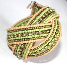 Crystal Rhinestone Yellow Bohemian Braid Bracelet Beaded Seed Bead Sage ... - $6.05