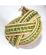 Crystal Rhinestone Yellow Bohemian Braid Bracelet Beaded Seed Bead Sage ... - $12.11