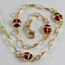 SOLID 18K YELLOW GOLD BRACELET, LADYDIRD LADYBUG WITH GLAZE, MADE IN ITALY image 3