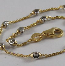 SOLID 18K YELLOW WHITE GOLD BRACELET WITH MINI FACETED BALLS 7.09 MADE IN ITALY image 2