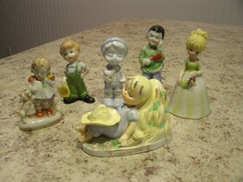 Vintage Mixed Lot of 6 Girl and Boy Figurines 3 Japan 1 Lefton 2 Unmarked - $34.16