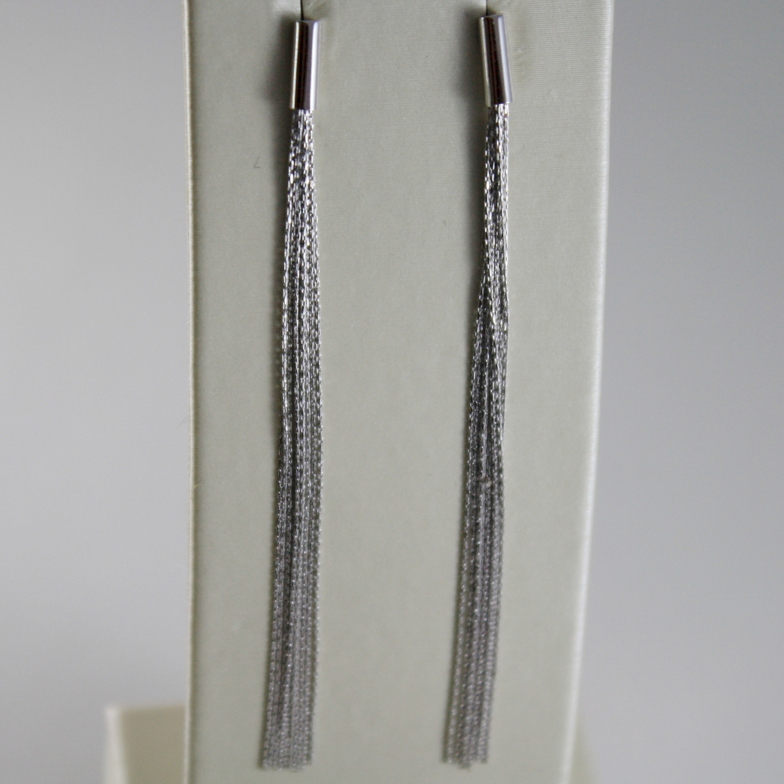 18K WHITE GOLD PENDANT EARRINGS WITH FRINGES MADE IN ITALY
