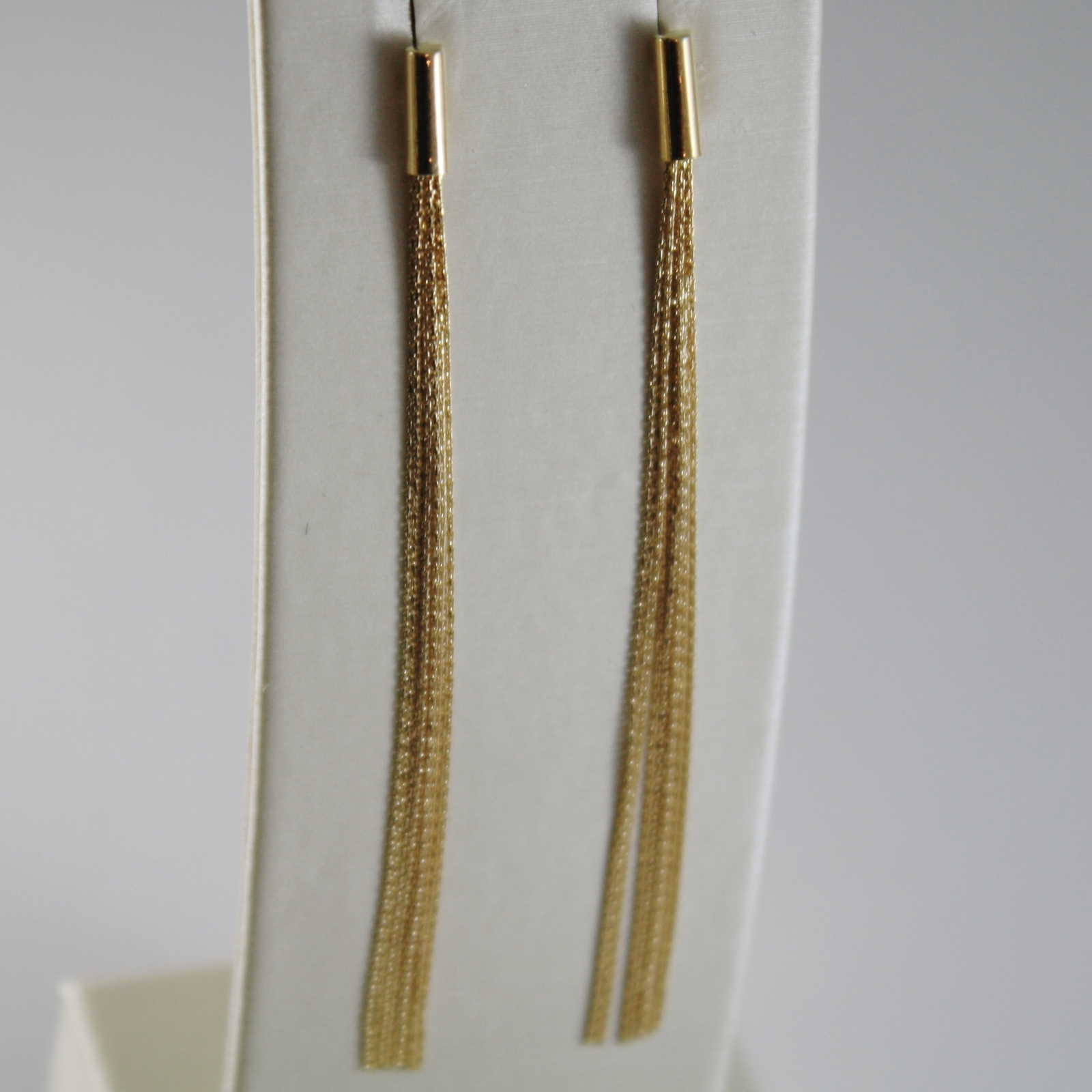 18K SOLID YELLOW GOLD PENDANT EARRINGS WITH FRINGES MADE IN ITALY