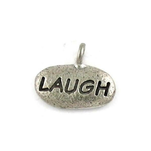 LAUGH (WORD) FINE PEWTER PENDANT CHARM - 15x13x3mm