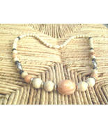 Vintage Neutral Marbled Lucite Graduated Beads Necklace  - $4.00