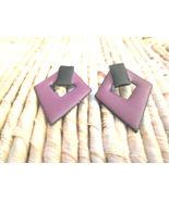 Vintage 1960s Purple & Black Enamel on Metal Diamond Shaped Pierced Earr... - $5.00