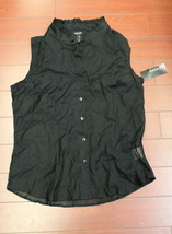 Women George Ladies Ruffle Top Blouse Transparent See Trough Black  Size... - $5.95