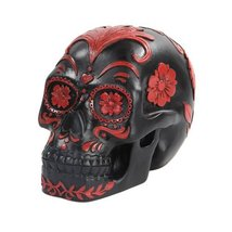 5.5 Inch Black and Red Floral Day of The Dead Skull Statue Figurine by PTC - $23.56