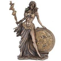 PTC 10057 Frigga Figurine with Staph and Round Shield, 9.5 Inch, Bronze - £37.50 GBP