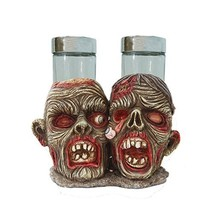 Undead Zombie With Peeling Eyes Salt Pepper Shaker Holder Figurine - $19.78